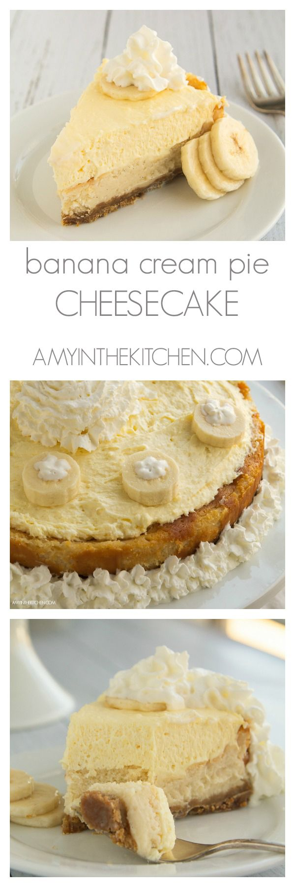 Banana Cream Pie Cheesecake is so delicious and so easy to make! The perfect dessert to bring to any party! by AmyintheKitchen.com
