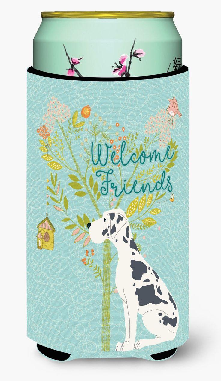 Welcome Friends Harlequin Great Dane Tall Boy Beverage Insulator Hugger BB7590TBC