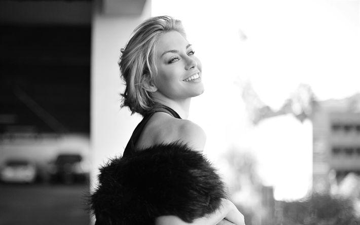 Lataa kuva Jennifer Holland, 4k, muotokuva, Amerikkalainen näyttelijä, yksivärinen
