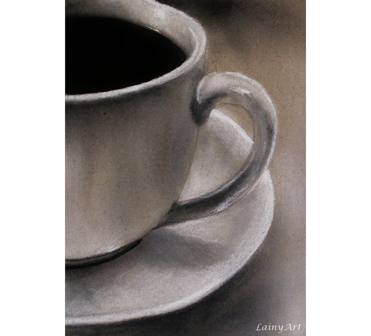 Charcoal drawing of a coffee cup <3