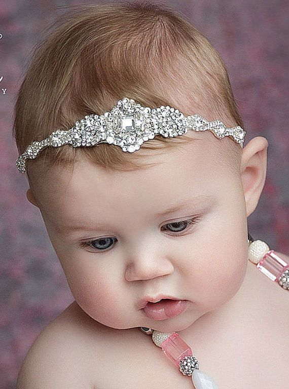 Baby girl christening headpiece flower girl by Tatishotties