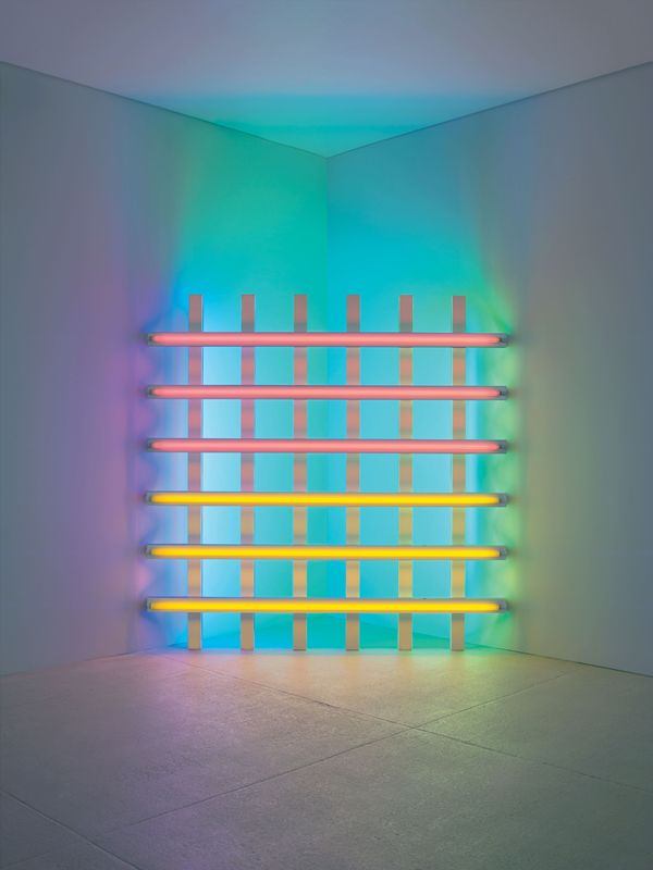 Dan Flavin, untitled (in honor of Harold Joachim) 3, 1977. Pink, yellow, blue, and green fluorescent light 8 ft. (244 cm) square across a corner CL no. 410 © 2015 Stephen Flavin/Artists Rights Society (ARS), New York; courtesy of David Zwirner, New York/London