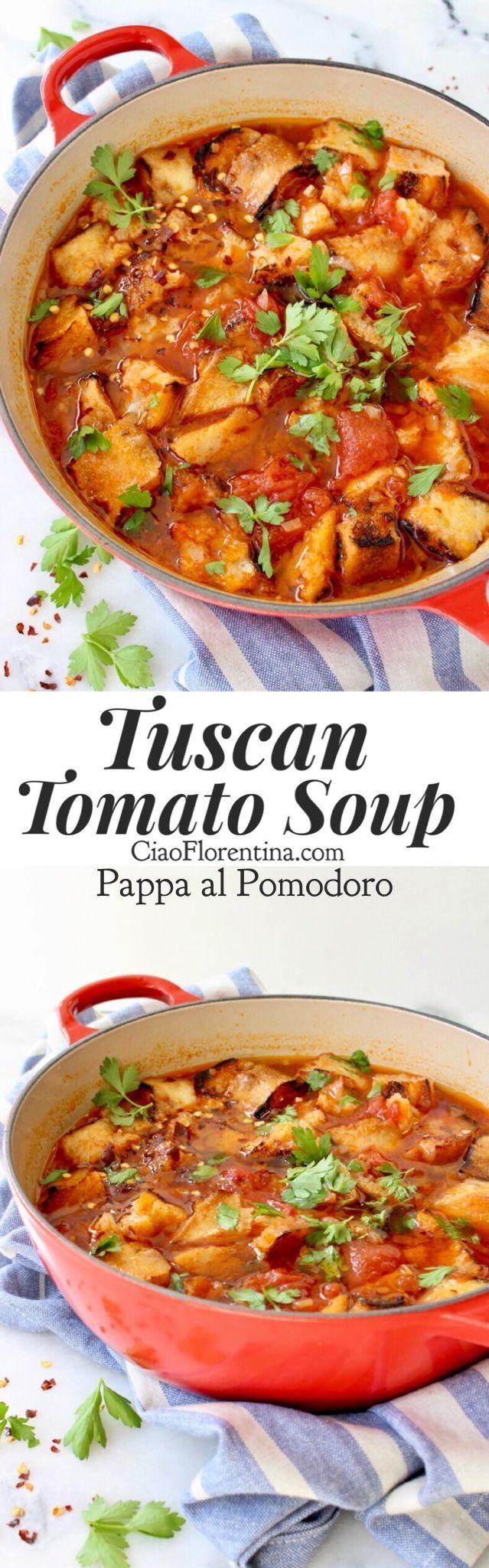 Authentic Tuscan Tomato Soup Recipe or Pappa al Pomodoro with Bread and Herbs | CiaoFlorentina.com @CiaoFlorentina