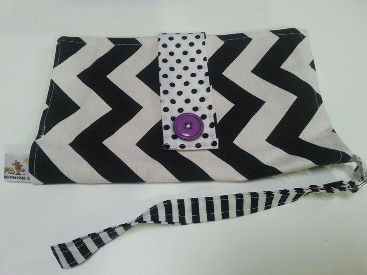 Black, white and purple..  Diaper pouch made by Bilbuli