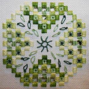 Tecido: 22ct Branco Hardanger  Tópicos: DMC perle n º 5 e 8 (92, 319, 368)