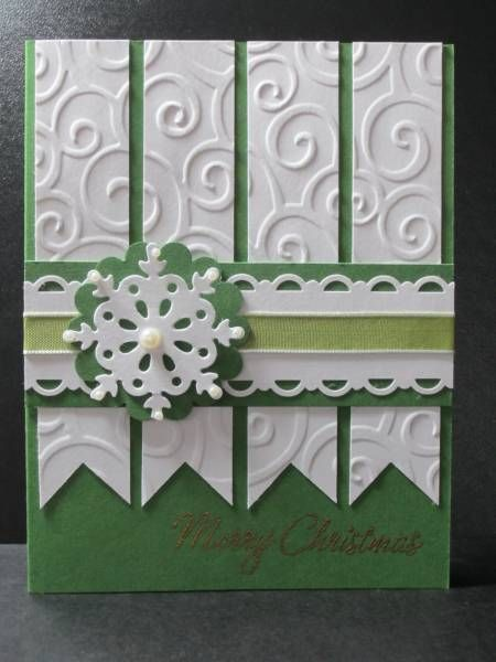 So pretty with the embossed paper strips The accessories used were: gold ep, snowflake die, scallop circle punch, embossing folder, pearls, ribbon, scallop trim punches.  This card was from splitcoaststampers.com