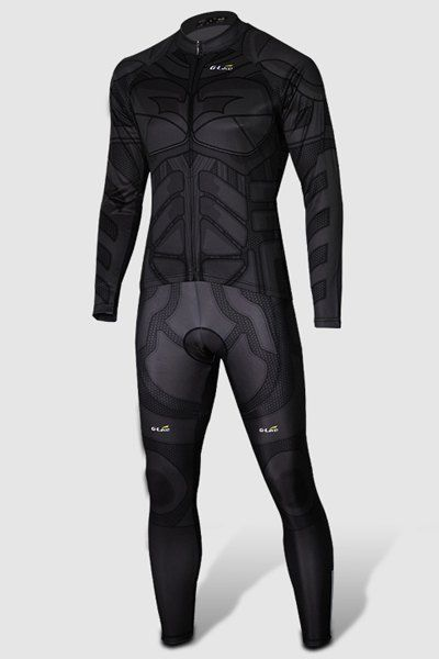 Close-Fitting Stand Collar Batman Costume Long Sleeve Men's Cycling Suit (Jacket+Pants)
