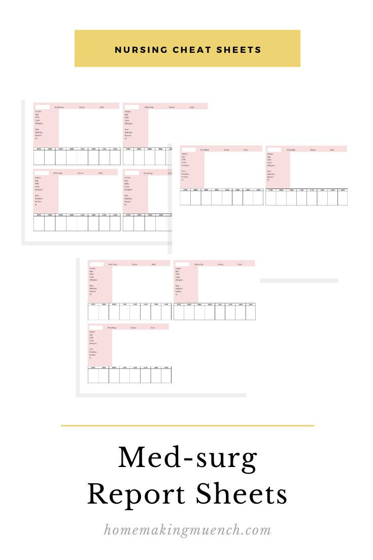 Med Surg Report Sheet Pack Pink Nurse Report Sheet