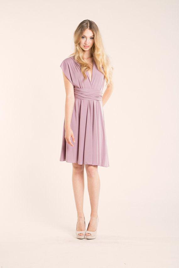 Dusty pink dress Short old pink dress Knee-length by mimetik