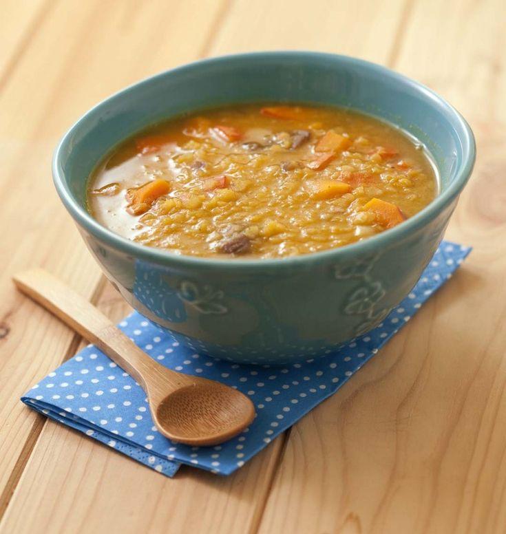Soupe au potimarron, lentilles corail et marrons - Recettes de cuisine Ôdélices