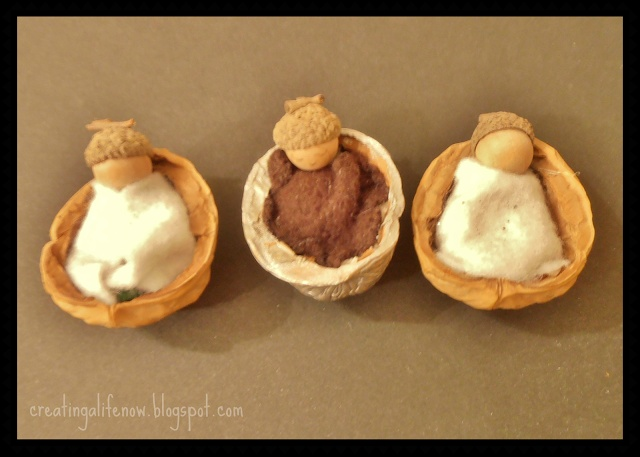 Woodland Nut Babies - DIY Ornament or doll house...cute