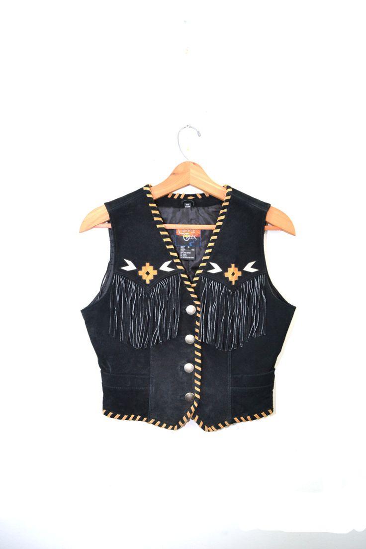ON SALE Southerstern Vest Black Leather Vest Boho Leather Vest Size Small by founditinatlanta on Etsy