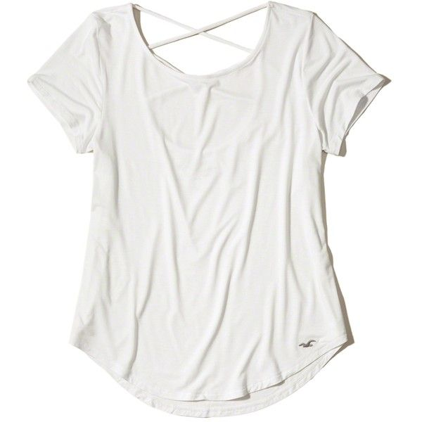 Hollister Must-Have Strappy Open Back T-Shirt (370 MXN) ❤ liked on Polyvore featuring white, slouchy t shirt, white tops, white t shirt, white strappy top and slouchy white t shirt