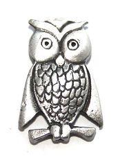 Owl Pin Badge in English Pewter, Handmade (h)