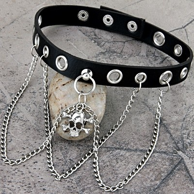 Metal Skull Pendant Chain Punk Goth Black Leather Necklace Choker Collar 1x1