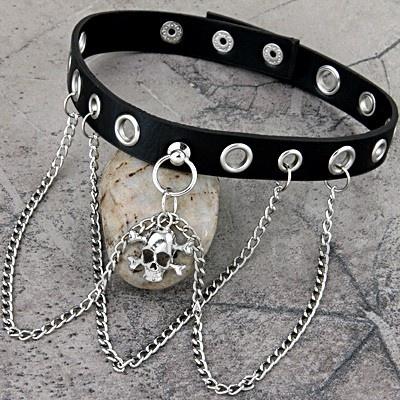 Metal Skull Pendant Chain Punk Goth Black Leather Necklace Choker Collar 1x1