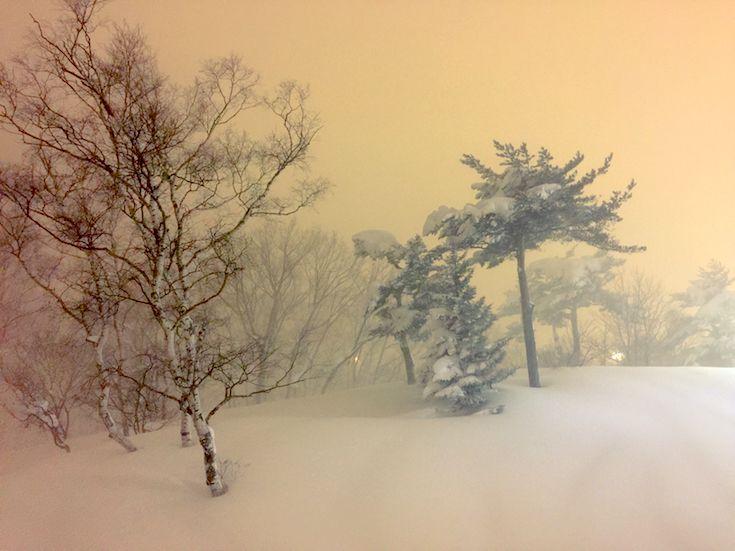 Soft pastel night light at Madarao Ski Resort Japan