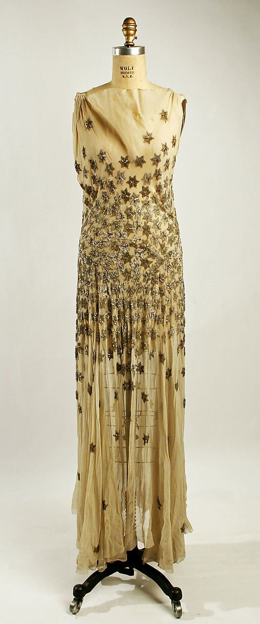 Evening dress, Madeleine Vionnet  (French, Chilleurs-aux-Bois 1876–1975 Paris)   Date: fall/winter 1930–31 Culture: French Medium: silk, glass, metal