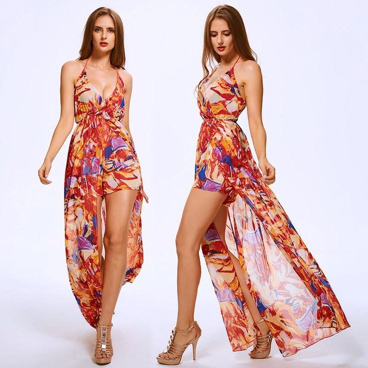 Multi-color Bohemian Style Halter Neck Maxi Dress with Shorts Underneath Sexy Romper