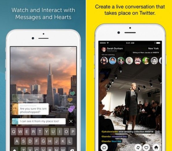 Die Live-Streaming-Apps Periscope (links) und Meerkat. (Screenshots: itunes.apple.com)