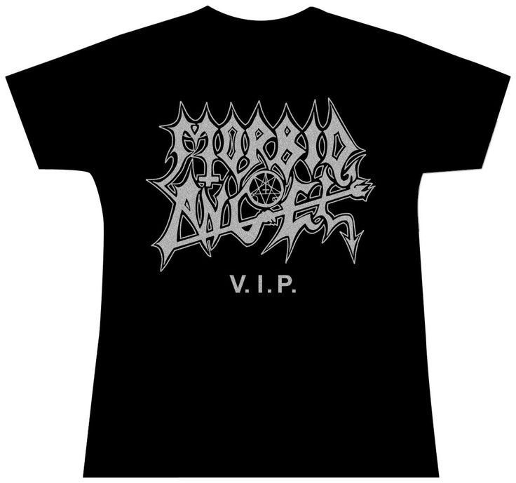 Official Morbid Angel girlie shirt featuring V.I.P. design in silver print..  Get yours here: http://heavymetalmerchant.com/product/morbid-angel-vip-girls-shirt