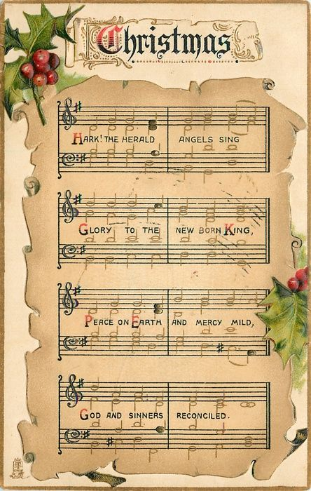 Christmas ~ Hark! The Herald Angels Sing, beautiful holly & berries