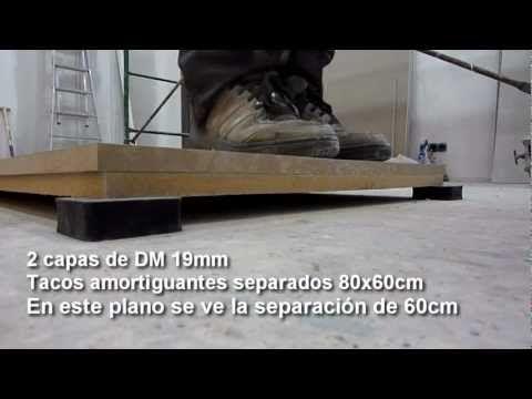 Insonorizando un local de ensayo.Pruebas con tacos amortiguantes para suelo flotante. Vídeo 2 - YouTube