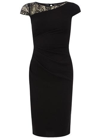 Dorothy Perkins  Black lace shoulder dress