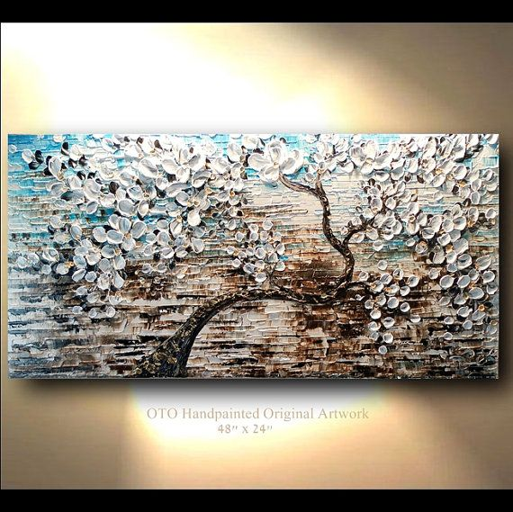 Commission 24x48 White Gold Brown Blue Flower Abstract & Blue And Brown Canvas Wall Art - Elitflat