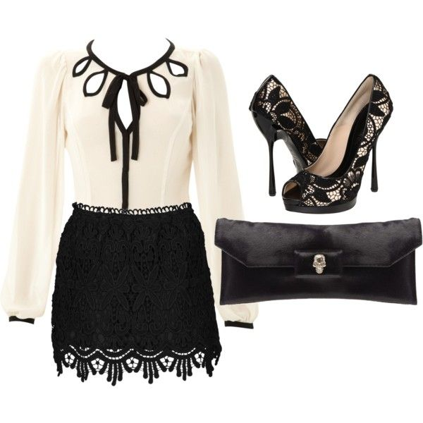 lacey: Date Night, Clothing Shoes Accessories, Black And White, Cute Outfits, Black White, White Lace, Lace Shoes, Work Outfits, Woman Dressy Outfits