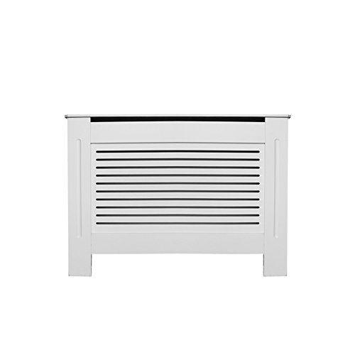 Homcom Meuble Cache Radiateur Chauffage Maison moderne meubles en bois Grill style diamant Design peint blanc, Contreplaqué, blanc, Taille M