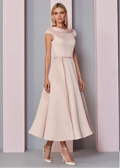 [133.99] Fascinating Satin Portrait Neckline Tea-Length A-line Mother Of The Bride Dress With Beadings – Евгенія Мажар