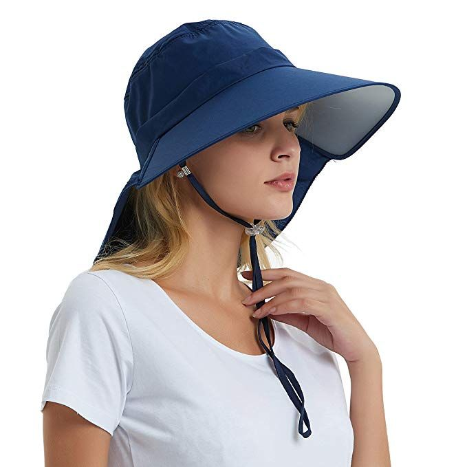 Womens Wide Brim Sun Hat With Neck Flap Cover Cotton Foldable Sunshade Visor Cap Mens Sun Hats Wide Brim Sun Hat Sun Hats