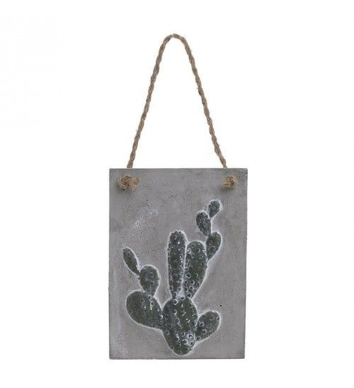 CEMENT WALL DECORATIVE CACTUS IN  GREY_GREEN 18Χ1_5X18_28