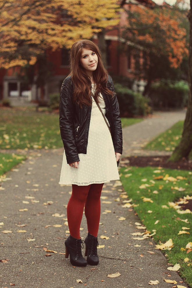Red Tights With White Lace Dress And Black Leather Jacket