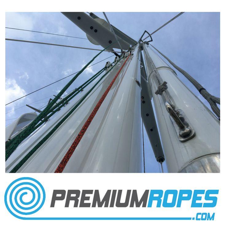 New set of ropes in the mast #halyards #yacht #rigging #splicing #stirotex  #rigger #riggingservices #fitting #premiumropes #premium #dyneema #ropes #yachtrigging #rigger #international #megayacht #sailingyacht #sailing #superyacht #perininavi #vela #greement #bateau