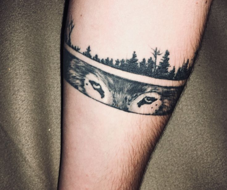 Tattoo wolf black for guys best animal arm strip