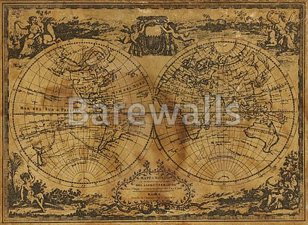 50 best world map wall decor images on pinterest map wall decor ancient world map circa 1788 showing the maritime route of captain cook gumiabroncs Gallery