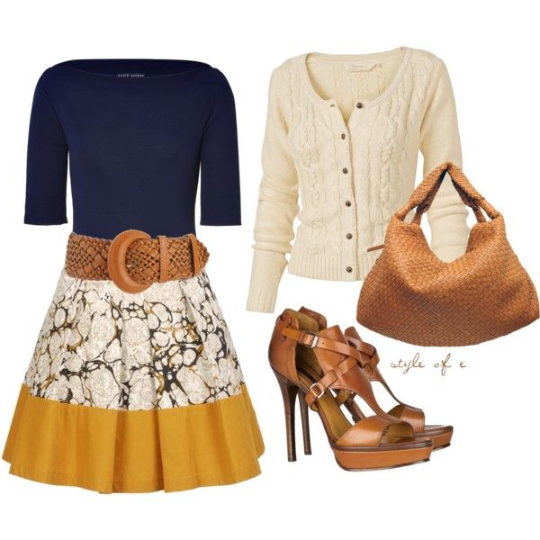 """""""Yellow and Print Skirt"""": Colors Combos, Cute Outfits, Fall Outfits, Blue Yellow, Prints Skirts, Sunday Dresses, Dresses Outfits, Wide Belts, Leather Accessories"""