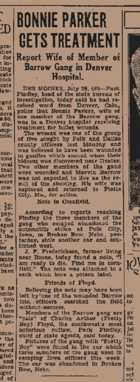 Denver news article on Bonnie Parker's treatment