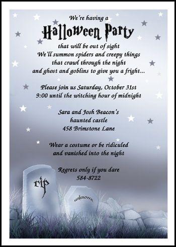 Halloween Party Poem Invite