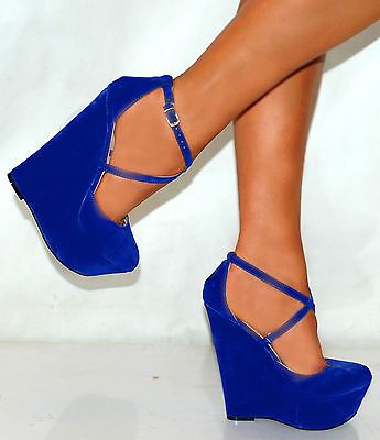 LADIES COBALT ELECTRIC ROYAL BRIGHT BLUE SUEDE COURT WEDGES HIGH HEELS SHOES