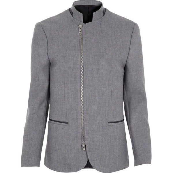 River Island Grey zip front blazer (€44) ❤ liked on Polyvore featuring men's fashion, men's clothing, men's sportcoats, sale, men's sportcoats and blazers and tall mens clothing