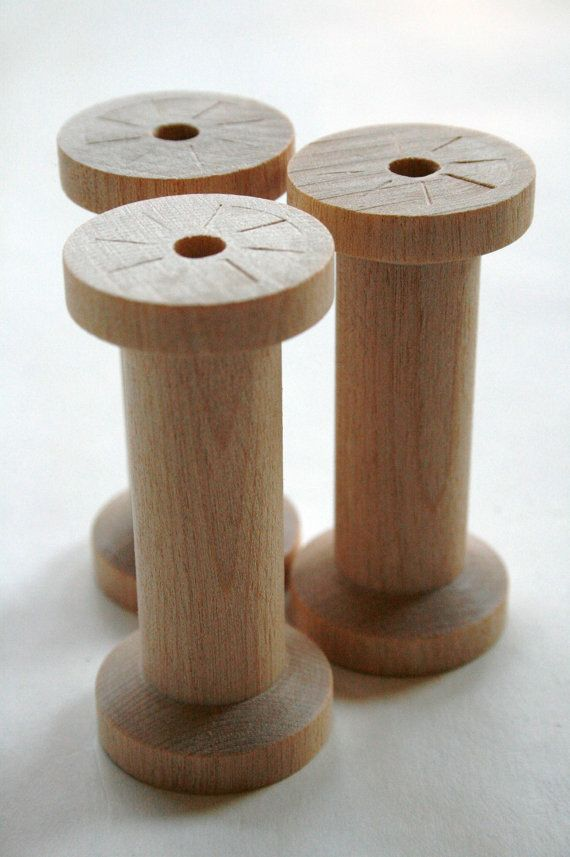 Large Wooden Spools  set of 6  Natural Wood Thread by InTheClear, $7.25