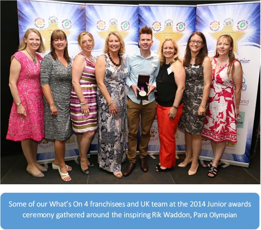 Some of our What's On 4 franchisees and UK Team at the 2014 Junior Awards, gathered around the inspiring Rik Waddon, Para Olympian - http://www.whatson4me.co.uk/franchise-opportunities.asp