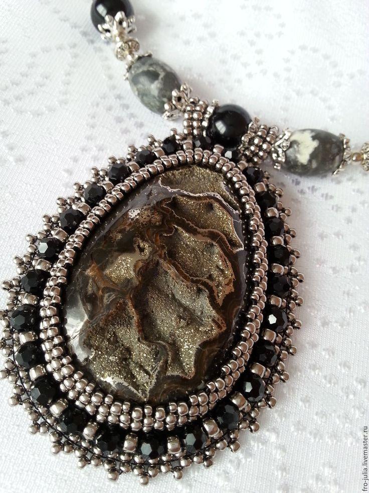 Купить Колье с жеодой - серебряный, симбирцитовая жеода, жеода, японский бисер, яшма, агат, металлофурнитура