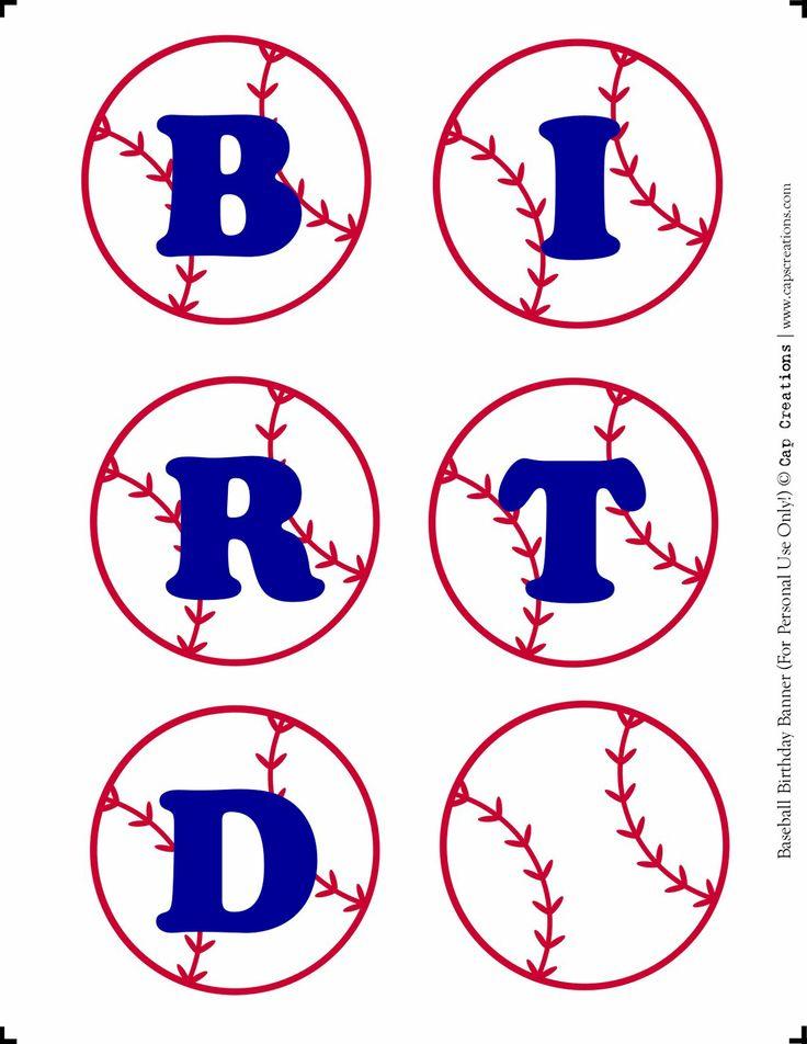 baseball party printables | Cap Creations: DIY - Happy Birthday Baseball Banner Printable