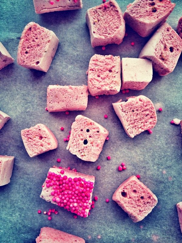 Strawberry Marshmallows. (Naturally colored & flavored. Gluten/Corn Syrup Free)