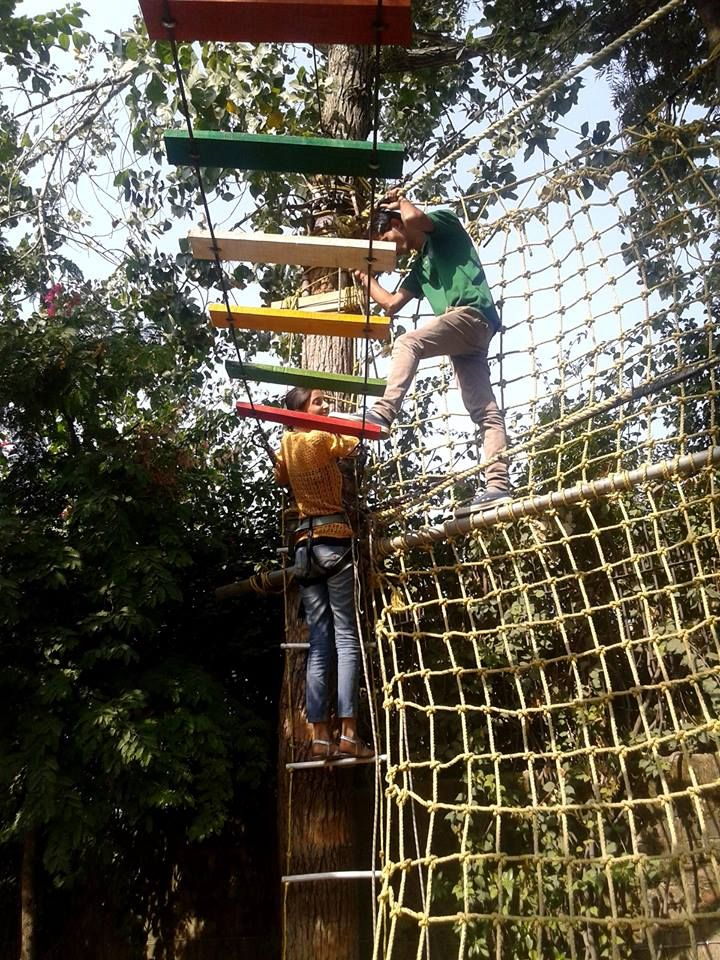 Obstacle Course – consisting of Burma Bridge, Spider's Web, Walk on Air and Balance Walk.