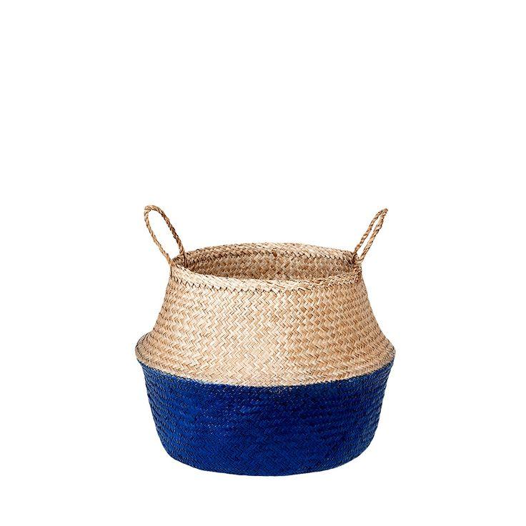 Kosz z trawy morskiej Ocea'an Navy #kosz #basket #seagrass #trawa #morska #homemade #manufcture #design #rękodzieło #unique #limitededition #amiou #onemarket.pl